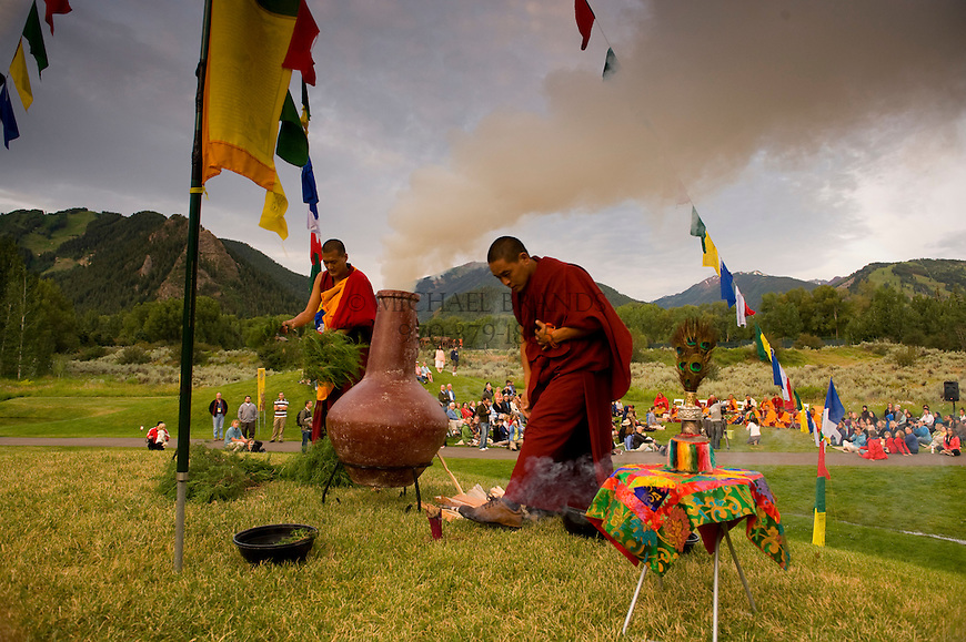 Tibetan monks hang prayer flags during a visit to Aspen, Colorado. © Michael Brands, 2008