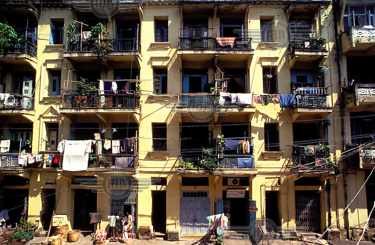 ©Jean-Leo Dugast/Panos Pictures..Burma, Rangoon..House frontwall.