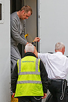 Pictured: Christopher Kerrell (TOP) being led by security staff into Cardiff Crown Court. Monday 30 April 2018<br /> Re: Christopher Kerrell, 35 has appeared before a judge at Cardiff Crown Court, charged with murdering Hollie Kerrell, a mother of three who had been missing for four days at Knighton, mid Wales, UK.<br /> Kerrell, who lives at the Whitton area, Knighton, Powys, was charged with killing Hollie Kerrell, 28, when he appeared before Merthyr Magistrates on Sunday.<br /> The body of Ms Kerrell, also of Knighton, was discovered at a farm four days after her disappearance.