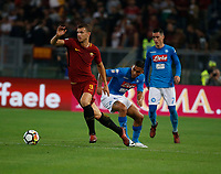 Edin Dzeko Miguel Allan  during the  italian serie a soccer match, AS Roma -  SSC Napoli       at  the Stadio Olimpico in Rome  Italy , 14 ottobre 2017