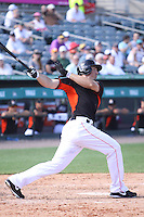 Brian Bogusevic (47) of the Miami Marlins at bat during a Grapefruit League Spring Training game at the Roger Dean Complex on March 4, 2014 in Jupiter, Florida. Miami defeated Minnesota 3-1. (Stacy Jo Grant/Four Seam Images)