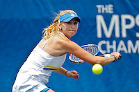 April 10, 2010:  MPS Group Championships.  Olga Govortsova (BLR) eyes a backhand return during semifinal singles action at the MPS Group Championships played at the Sawgrass Country Club in Ponte Vedra, Florida. Olga Govortsova (BLR) defeated Dominika Cibulkova (SVK) 6-4, 7-5 to advance to the finals..
