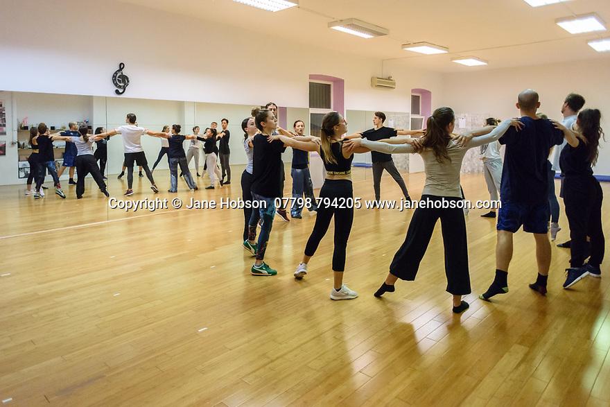 Zadar, Croatia. 18.10.2018. Choreographer and dancer, Sanja Petrovski, directs her contemporary dance ensemble (Zadarski Plesni Ansambl)  in Zadar, Croatia. Photograph © Jane Hobson.