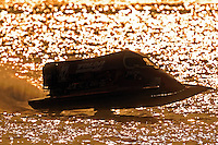3-4 May 2008, Pickwick,TN USA.Eventual winner Shaun Torrente flies his Grand Prix/Mercury as the sun sets on the final heat..©2008 F.Peirce Williams