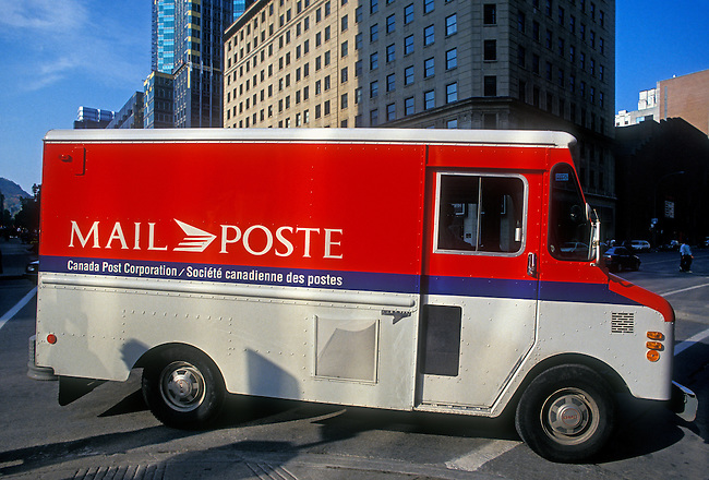 Mail truck, postal service, city of Montreal, Quebec Province, Canada, North America