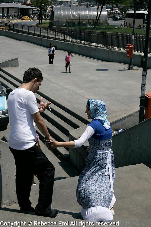 Turkish couple in Eminonu, Istanbul, Turkey