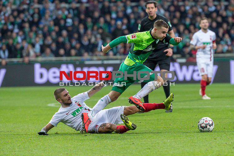 10.02.2019, Weser Stadion, Bremen, GER, 1.FBL, Werder Bremen vs FC Augsburg, <br /> <br /> DFL REGULATIONS PROHIBIT ANY USE OF PHOTOGRAPHS AS IMAGE SEQUENCES AND/OR QUASI-VIDEO.<br /> <br />  im Bild<br /> Konstantinos Stafylidis (FC Augsburg #03)<br /> Johannes Eggestein (Werder Bremen #24)<br /> <br /> <br /> Foto &copy; nordphoto / Kokenge