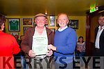 Tom McKenna, Chairman, presents Patrick O'Sullivan with a certificate of participation after taking part in the Newly Composed Ballad Competition as part of the Garry McMahon Singing Weekend at The Ramble Inn, Abbeyfeale