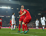 James Milner of Liverpool celebrates scoring the second goal during the Premier League match at the Anfield Stadium, Liverpool. Picture date: November 26th, 2016. Pic Simon Bellis/Sportimage