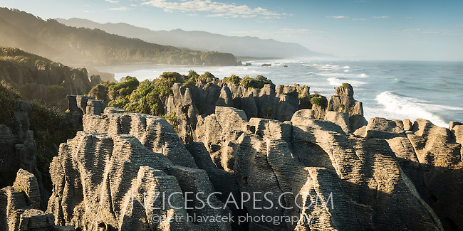 Limestone formation in Punakaiki, Paparoa National Park, West Coast,  Buller Region, New Zealand, NZ