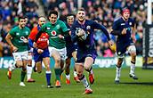 9th February 2019, Murrayfield Stadium, Edinburgh, Scotland; Guinness Six Nations Rugby Championship, Scotland versus Ireland; Finn Russell (Scotland) breaks for the line
