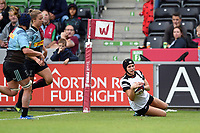 Merryn Doidge of Bristol Bears Women scores a try in the first half. Tyrrell's Premier 15s match, between Harlequins Ladies and Bristol Bears Women on September 15, 2018 at the Twickenham Stoop in London, England. Photo by: Patrick Khachfe / Onside Images