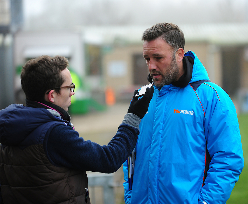 Maidstone United manager Jay Saunders speaks to BBC Radio Kent<br /> <br /> Photographer Andrew Vaughan/CameraSport<br /> <br /> Vanarama National League - Lincoln City v Maidstone - Saturday 26th November 2016 - Sincil Bank - Lincoln<br /> <br /> World Copyright &copy; 2016 CameraSport. All rights reserved. 43 Linden Ave. Countesthorpe. Leicester. England. LE8 5PG - Tel: +44 (0) 116 277 4147 - admin@camerasport.com - www.camerasport.com