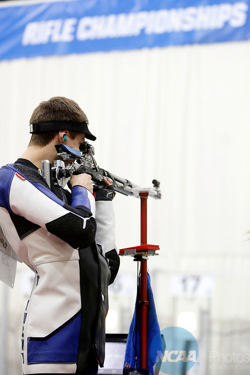 COLUMBUS, OH - MARCH 11:  Jason Spaude, of the University of Kentucky, competes during the Division I Rifle Championships held at The French Field House on the Ohio State University campus on March 11, 2017 in Columbus, Ohio. (Photo by Jay LaPrete/NCAA Photos via Getty Images)