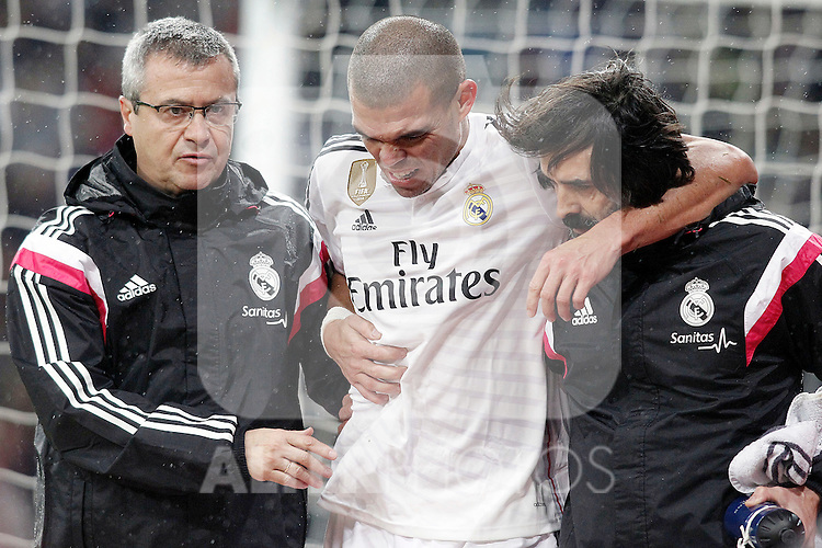 Real Madrid's Pepe injured during Spanish King's Cup match.January 15,2015. (ALTERPHOTOS/Acero)
