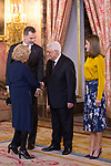 King Felipe VI of Spain (l) and Queen Letizia of Spain (r) receive Palestinian President Mahmoud Abbas (c) in presence of Madrid City Mayor Manuela Carmena. May 24 ,2017. (ALTERPHOTOS/Pool)