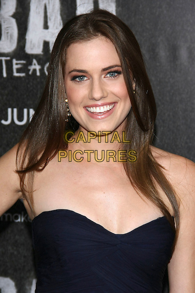 "Allison Williams.attending the World Premiere of ""Bad Teacher"" at the Ziegfeld Theater, New York, NY, USA, June 20th 2011..portrait headshot smiling navy blue strapless .CAP/LNC.©TOM/LNC/Capital Pictures."
