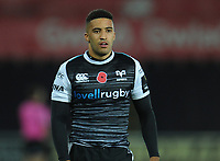 Ospreys' Keelan Giles<br /> <br /> Photographer Kevin Barnes/CameraSport<br /> <br /> Guinness Pro14 Round 8 - Ospreys v Glasgow Warriors - Friday 2nd November 2018 - Liberty Stadium - Swansea<br /> <br /> World Copyright &copy; 2018 CameraSport. All rights reserved. 43 Linden Ave. Countesthorpe. Leicester. England. LE8 5PG - Tel: +44 (0) 116 277 4147 - admin@camerasport.com - www.camerasport.com