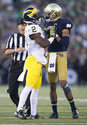 September 06, 2014:  Notre Dame wide receiver William Fuller (7) and Michigan defensive back Blake Countess (2) exchange words during NCAA Football game action between the Notre Dame Fighting Irish and the Michigan Wolverines at Notre Dame Stadium in South Bend, Indiana. Notre Dame defeated Michigan 31-0.