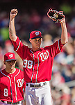 6 April 2014: Washington Nationals pitcher Taylor Jordan finishes his duty on the mound against the Atlanta Braves at Nationals Park in Washington, DC. The Nationals defeated the Braves 2-1 to salvage the last game of their 3-game series. Mandatory Credit: Ed Wolfstein Photo *** RAW (NEF) Image File Available ***