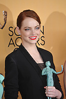 Emma Stone at the 2015 Screen Actors Guild  Awards at the Shrine Auditorium.<br /> January 25, 2015  Los Angeles, CA<br /> Picture: Paul Smith / Featureflash