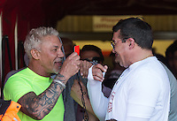 Wayne Lineker & Tamer Hassan talk red cards during the 'Greatest Show on Turf' Celebrity Event - Once in a Blue Moon Events at the London Borough of Barking and Dagenham Stadium, London, England on 8 May 2016. Photo by Andy Rowland.