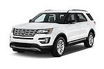 2017 Ford Explorer XLT 4 Door SUV Angular Front stock photos of front three quarter view
