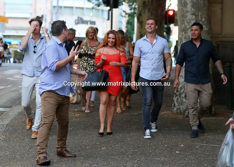 18 JANUARY 2018 SYDNEY AUSTRALIA<br /> WWW.MATRIXPICTURES.COM.AU<br /> <br /> EXCLUSIVE PICTURES<br /> <br /> Married At First Sight new season contestants spotted out and about in the city. The group were spotted at the Criterion Hotel Sydney and continued on to Baxter's. <br /> <br /> Note: All editorial images subject to the following: For editorial use only. Additional clearance required for commercial, wireless, internet or promotional use.Images may not be altered or modified. Matrix Media Group makes no representations or warranties regarding names, trademarks or logos appearing in the images.