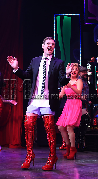 """Jake Shears, Kirstin Maldonado during the Curtain Call for Wayne Brady's return to """"Kinky Boots"""" on Broadway on March 5, 2018 at the Hirschfeld Theatre in New York City."""