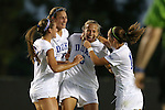 17 September 2015: Duke's Rebecca Quinn (CAN) (5) celebrates her goal with Morgan Reid (24), Lizzy Raben (6), and Cassie Pecht (right). The Duke University Blue Devils hosted the Appalachian State University Mountaineers at Koskinen Stadium in Durham, NC in a 2015 NCAA Division I Women's Soccer match. Duke won the game 6-0.