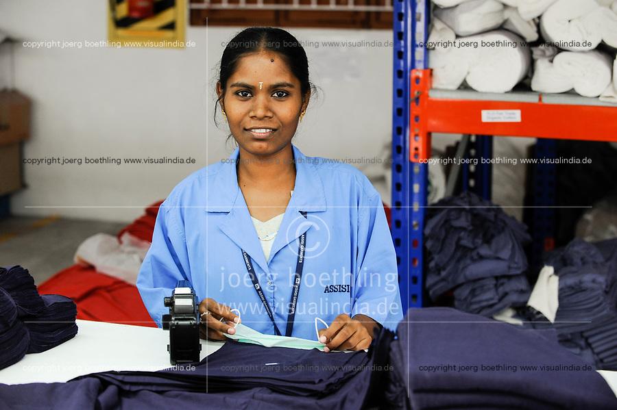 INDIA Tirupur , fair trade textile units , Assisi Garments produces organic and fairtrade garments for Export / INDIEN Tamil Nadu, Tirupur,  fairtrade Textilbetriebe , Herstellung von oekologischen und fair gehandelten Textilien bei Assisi Garments fuer den Export