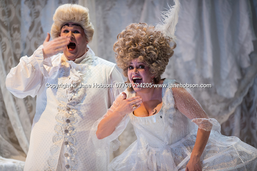 London, UK. 16.10.2014.  English Touring Opera presents LIFE ON THE MOON, by Joseph Haydn, directed by Cal McCrystal, with lighting design by Lee Curran and set & costume design by takis, at the Hackney Empire. Picture shows:  Christopher Turner (Ecclitico) and Jane Harrington (Clarice). Photograph © Jane Hobson.