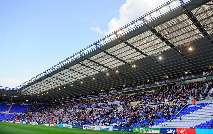 Coventry City fans watch their team in action<br /> <br /> Photographer Chris Vaughan/CameraSport<br /> <br /> The EFL Sky Bet League One - Coventry City v Blackpool - Saturday 7th September 2019 - St Andrew's - Birmingham<br /> <br /> World Copyright © 2019 CameraSport. All rights reserved. 43 Linden Ave. Countesthorpe. Leicester. England. LE8 5PG - Tel: +44 (0) 116 277 4147 - admin@camerasport.com - www.camerasport.com