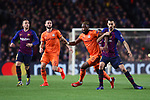 UEFA Champions League 2018/2019.<br /> Round of 16 2nd leg.<br /> FC Barcelona vs Olympique Lyonnais: 5-1.<br /> Moussa Dembele vs Sergio Busquets.