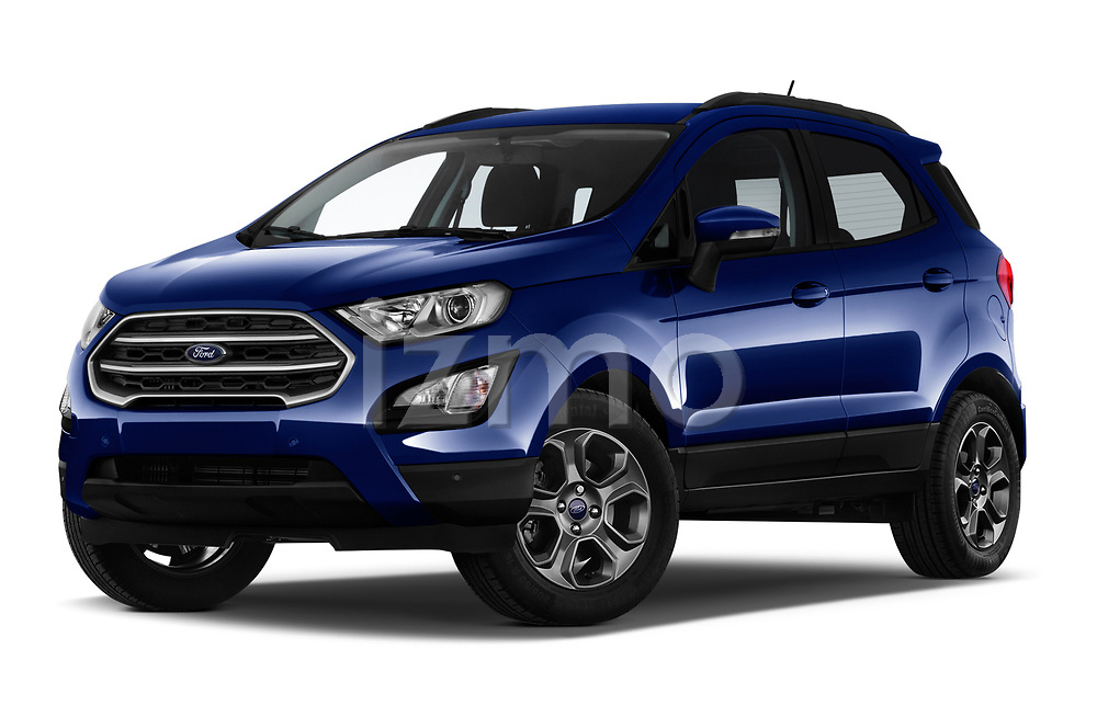Stock pictures of low aggressive front three quarter view of a 2018 Ford Ecosport Business Class 5 Door SUV