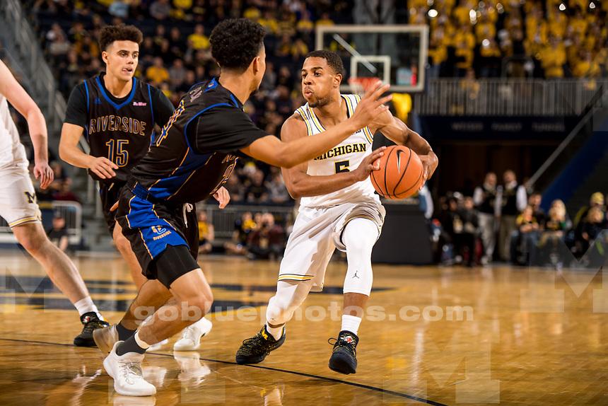 The University of Michigan men's basketball team defeats UC Riverside, 87-42, at Crisler Center in Ann Arbor, MI on November 26, 2017.