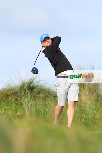 Colin Cunningham (Carton House) on the 4th tee during Round 2 of The South of Ireland in Lahinch Golf Club on Sunday 27th July 2014.<br /> Picture:  Thos Caffrey / www.golffile.ie