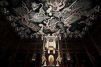 "The painted ""twin dragon"" roof at Kennin-ji Temple, Kyoto"