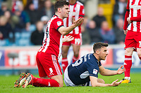 Brentford John Egan and Millwall's Lee Gregory during the Sky Bet Championship match between Millwall and Brentford at The Den, London, England on 10 March 2018. Photo by Andrew Aleksiejczuk / PRiME Media Images.