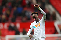 Tammy Abraham of Swansea City gives the thumbs up to the travelling fans after the Premier League match between Manchester United and Swansea City at the Old Trafford, Manchester, England, UK. Saturday 31 March 2018