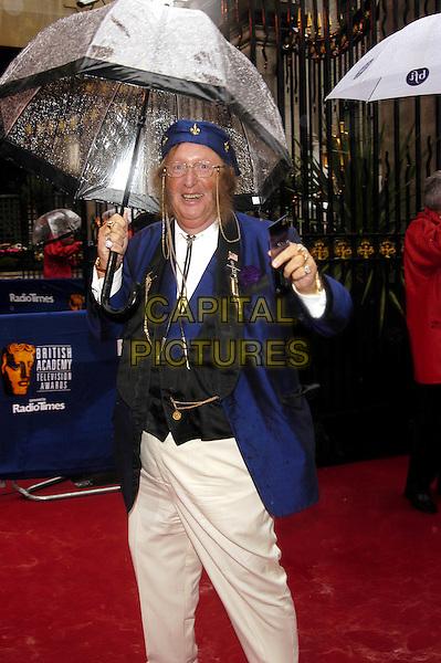 JOHN McCRIRICK.The British Academy Televison Awards at the Grosvenor House Hotel, Park Lane, London.full length, full-length, baftas, umbrella, costume, hat, sideburns.www.capitalpictures.com.sales@capitalpictures.com.©Capital Pictures