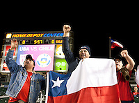 CARSON, CA – JANUARY 22: Chile fans celebrating before the international friendly match between USA and Chile at the Home Depot Center, January 22, 2011 in Carson, California. Final score USA 1, Chile 1.