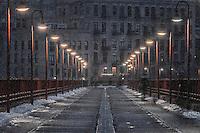 Lighted Stone Arch Bridge walkway in Minneapolis, Minnesota.