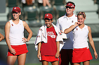 STANFORD, CA - JANUARY 30:  Lindsay Burdette, Hilary Barte, Frankie Brennan Jr., and Courtney Clayton of the Stanford Cardinal during Stanford's 6-1 win over the Colorado Buffaloes in the ITA Indoor Qualifying on January 30, 2009 at the Taube Family Tennis Stadium in Stanford, California.