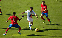 CARSON, CA - FEBRUARY 1: Jonathan Lewis #11 of USA and Keysher Fuller #4 of Costa Rica battle for ball in the middle of the field during a game between Costa Rica and USMNT at Dignity Health Sports Park on February 1, 2020 in Carson, California.