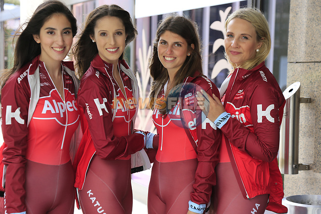 Team Katusha Alpecin girls in Dusseldorf before the 104th edition of the Tour de France 2017, Dusseldorf, Germany. 30th June 2017.<br /> Picture: Eoin Clarke | Cyclefile<br /> <br /> <br /> All photos usage must carry mandatory copyright credit (&copy; Cyclefile | Eoin Clarke)