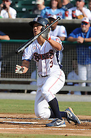 The Tennessee Smokies center fielder Jae-Hoon Ha #3 swings at a pitch during game four of the Southern League Championship Series between the Mobile Bay Bears and the Tennessee Smokies at Smokies Park on September 18, 2011 in Kodak, Tennessee.  The BayBears won the Southern League Championship 6-4.  (Tony Farlow/Four Seam Images)
