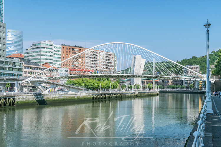 Spain, Bilbao, Zubizuri (Campo Volatin ) Bridge Over the Nervion River