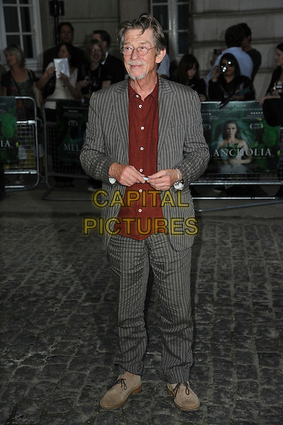 John Hurt.UK Premiere of 'Melancholia' at the Curzon, Mayfair, London, England..September 28th 2011.full length grey gray pinstripe suit jacket red shirt glasses goatee facial hair.CAP/CAS.©Bob Cass/Capital Pictures.