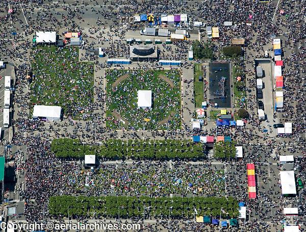 aerial photograph crowds at Civic Center San Francisco, California
